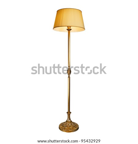 vintage stand lamp isolated on white - stock photo