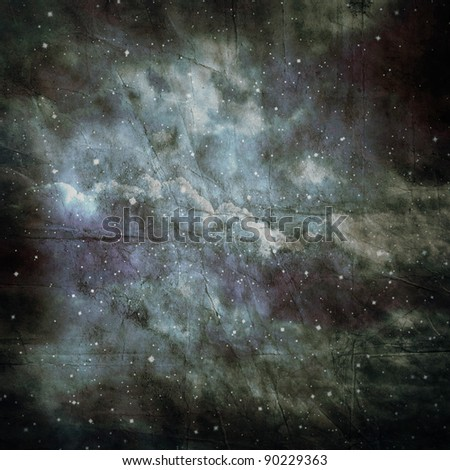 Vintage stars and clouds on old paper - stock photo