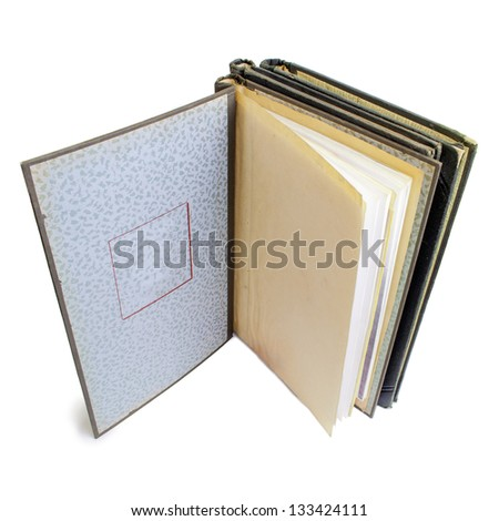 Vintage stationery - overhead view of an old, hard-cover, spring back binder showing a blank first page. Isolated on a white background.