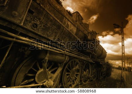 Vintage Steam engine - stock photo