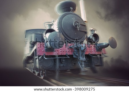 Vintage steam locomotion in blurred motion, sepia tone - stock photo