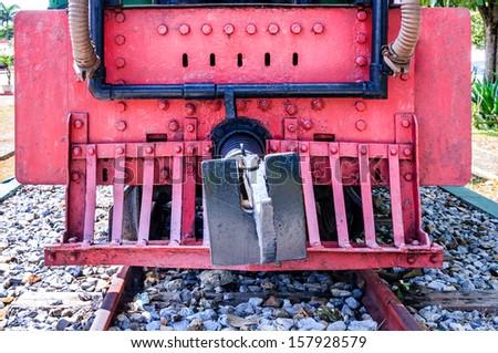 Vintage steam locomotive  front panel  - stock photo
