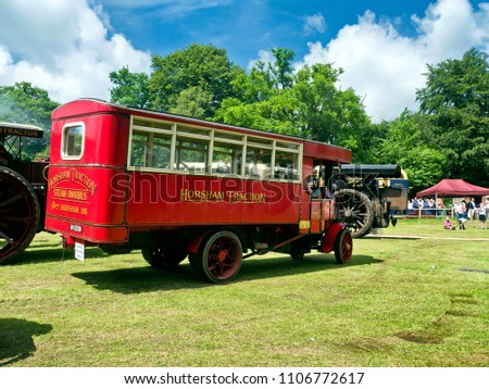 Vintage steam powered bus at Steam Rally or Fair, Sussex, England, UK, 3 June 2018