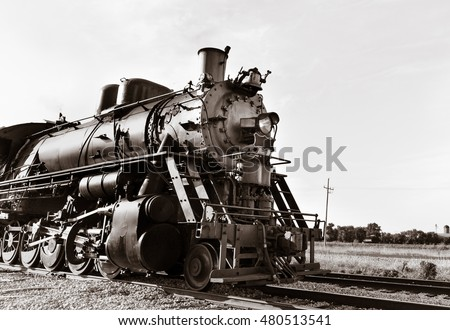 Vintage Steam powered railway engine. Copy space