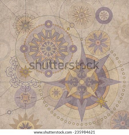 vintage steam punk star ornament, aged paper background - stock photo