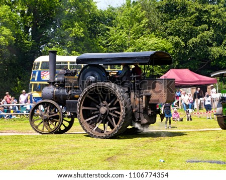Vintage steam traction engine at Steam Rally or Fair, Sussex, England, UK, 3 June 2018