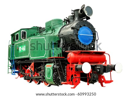 Vintage steam train 1935-1957. Green, red, black isolated over white background - stock photo