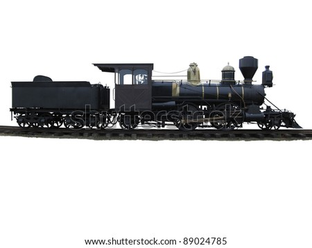 Vintage steam train on railway lines isolated. - stock photo