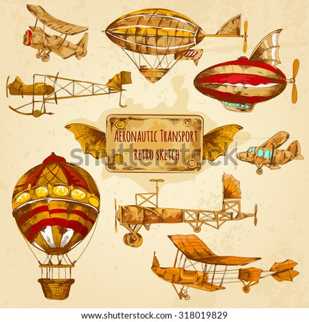 Vintage steampunk aviation colored sketch decorative icons set with zeppelin balloon and airplane isolated  illustration - stock photo