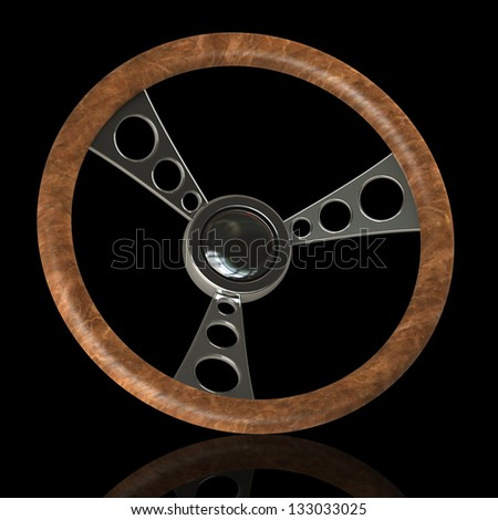 vintage steering wheel Isolated on black background. High resolution 3d render - stock photo