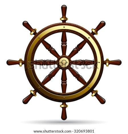Vintage steering wheel on the white background.  Navigation symbol - stock photo