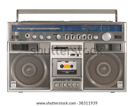 Vintage Stereo Radio Cassette Recorder or Boombox isolated over white background - stock photo