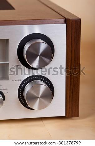 Vintage Stereo Radio Receiver Knobs Closeup - stock photo