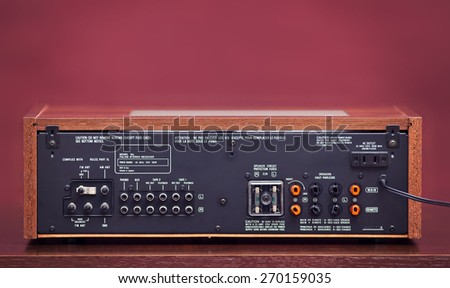 Vintage Stereo Radio Receiver Rear Panel - stock photo