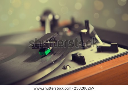 Vintage  stereo turntable vinyl record player - stock photo