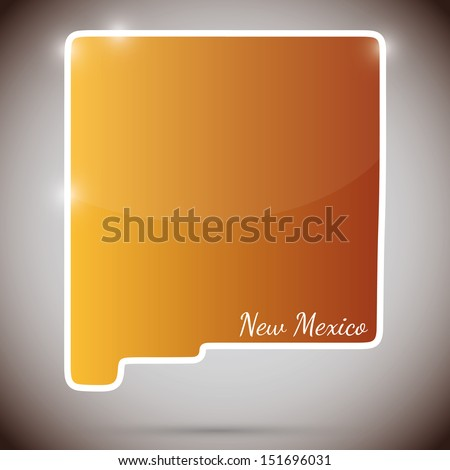 vintage sticker in form of New Mexico state, USA  - stock photo