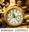 Vintage still life. Antique pocket watch. - stock photo