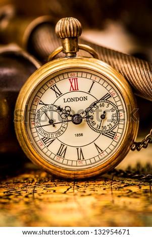 Vintage still life. Antique pocket watch. - stock photo