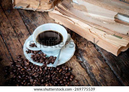 Vintage still life details, cup of coffee - stock photo