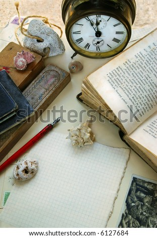 Vintage still-life with alarm-clock - stock photo