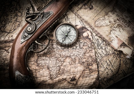 vintage still life with compass and old map. map of the 1570. Author: Abraham Ortelius (1527-1598)  - stock photo