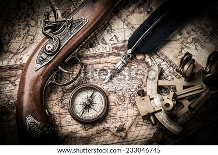 vintage still life with compass,sextant and old map. map of the 1570. Author: Abraham Ortelius (1527-1598)  - stock photo