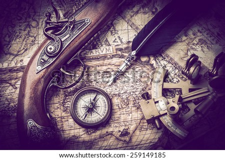 vintage  still life with compass,sextant and spyglass .Vintage tone - stock photo