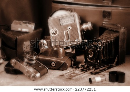 Vintage still-life with old retro cameras - stock photo