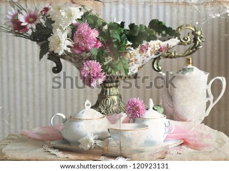 vintage still life with  vase  and tea set - stock photo