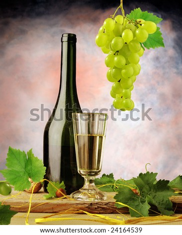 Vintage still life with white wine