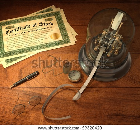 Vintage stock brokerage desk with ticker tape machine, simulated shares of stock, candlestick telephone, fountain pen, pocket watch and library desk lamp - stock photo