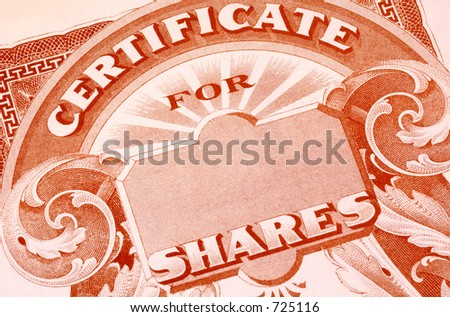 Vintage Stock Certificate - stock photo