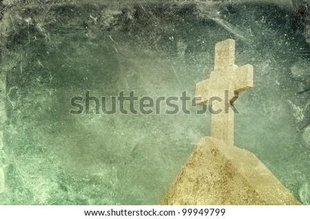 Vintage stone cross on grunge background, religious motif - stock photo