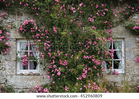Vintage stone house with two windows decorated with flowers at island Ushant/Ouessant, Brittany, France on 8th July 2016. / Beautiful house for rest decorated with flowers
