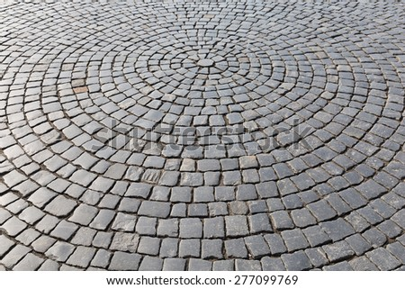 Vintage stone street road pavement texture - stock photo