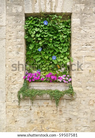 Vintage stone wall with flowers book cover effect background - stock photo