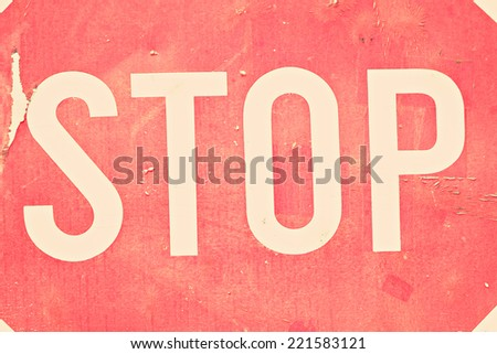 vintage stop sign - stock photo