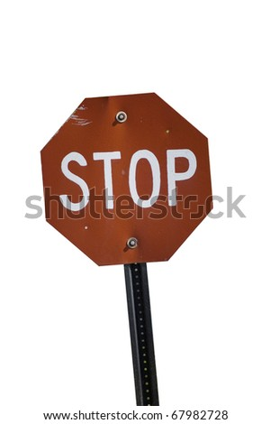 VINTAGE Stop sign with white background - stock photo