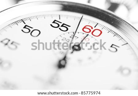 vintage stopwatch, extreme closeup - stock photo