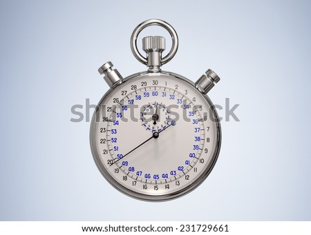 Vintage Stopwatch isolated on Beautiful Studio Background. Front View with Copy Space for Text  - stock photo