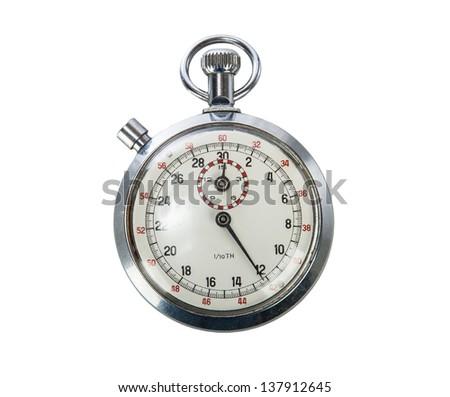 Vintage Stopwatch on white background - stock photo