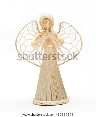Vintage straw angel statue - stock photo