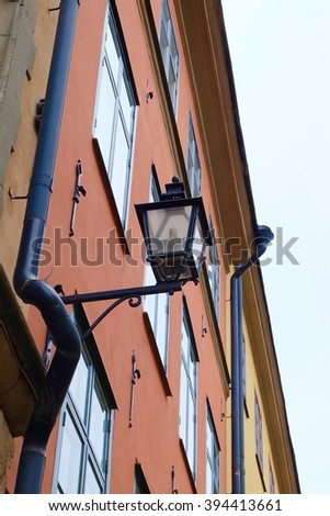 Vintage street lamp at Gamla Stan, Stockholm Sweden - stock photo