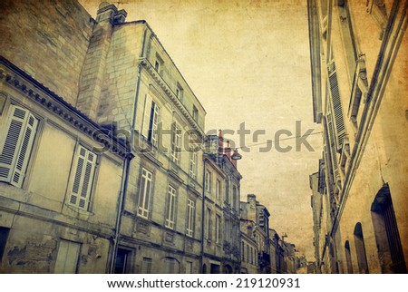 Vintage Street view of old town in bordeaux city, France Europe - stock photo
