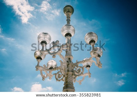 Vintage streetlight in San Sebastian, Spain - stock photo