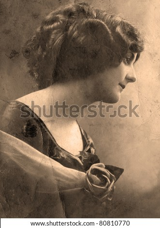 Vintage  1912 studio close up portrait of a woman, taken in the Northern Caucasus area of Russia. - stock photo