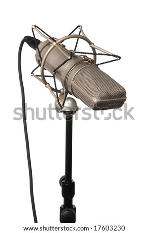 Vintage Studio microphone isolated over a white background - stock photo