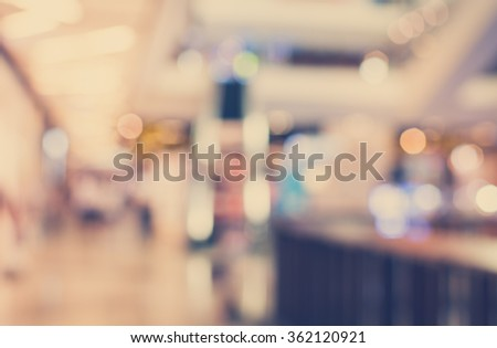 Vintage Style - Abstract background of shopping mall, shallow depth of focus. - stock photo