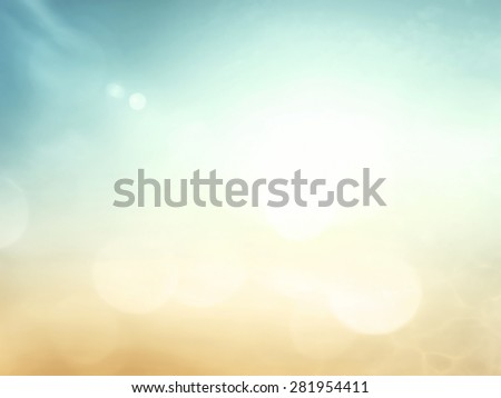 Vintage style. Abstract blurred beautiful the beach and sky textured background: yellow, green, blue patterns. Sandy beach backdrop with turquoise water and bright sun light. Summer holiday concept. - stock photo