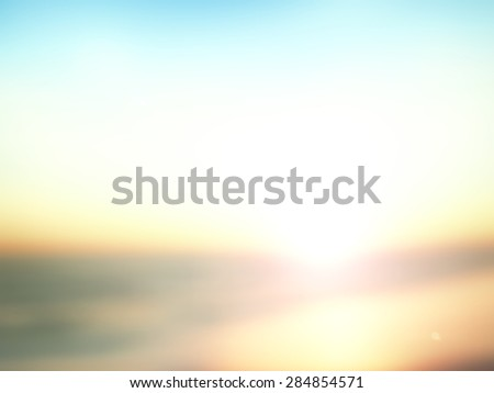 Vintage style. Abstract blurred textured background: orange and blue patterns. Blurred nature background. Sandy beach backdrop with turquoise water and bright sun light. Summer holidays concept. - stock photo